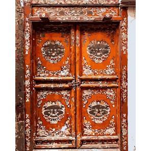 Дверь под старину Раскраска картина по номерам на холсте