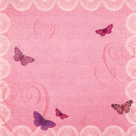 Бабочки на розовом Бумага для скрапбукинга, кардмейкинга K&Company