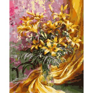 Золотистый букет Раскраска картина по номерам на холсте