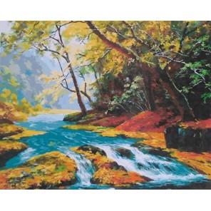 Горная речка (художник Kang Jung Ho) Раскраска картина по номерам на холсте
