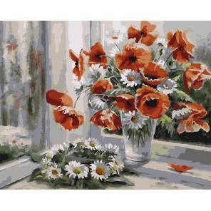 Венок на окне Раскраска картина по номерам на холсте