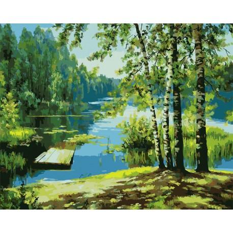 Картина по номерам акриловыми красками Утро на озере ...