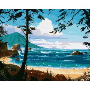 Тихое побережье Раскраска картина по номерам на холсте
