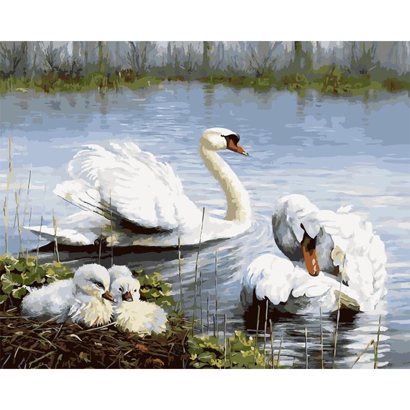 семья лебедей раскраска картина по номерам на холсте Rsb1506
