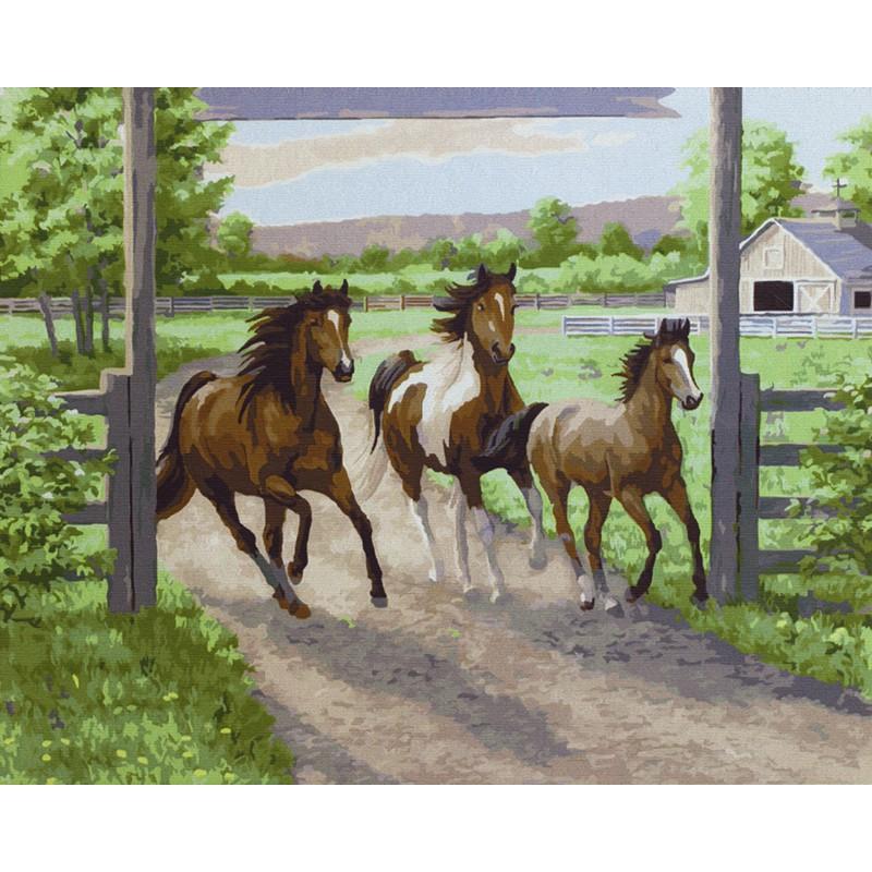 тройка лошадей раскраска картина по номерам на холсте Gx3254