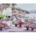 Солнечная набережная (художник Lucia Sarto) Раскраска картина по номерам на холсте