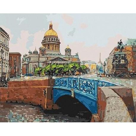 вид от синего моста исаакиевский собор раскраска картина по номерам на холсте Gx3914
