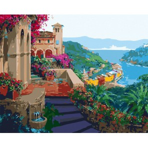 Южный город Раскраска картина по номерам на холсте Menglei
