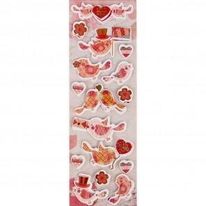 Розовые птички 3D cтикеры для скрапбукинга, кардмейкинга Арт Узор