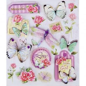 Бабочки/цветы 3D cтикеры для скрапбукинга, кардмейкинга Арт Узор