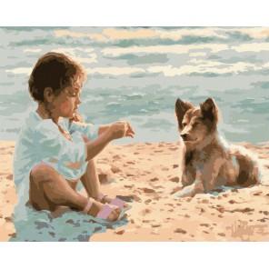 Девочка с другом Раскраска картина по номерам на холсте Menglei