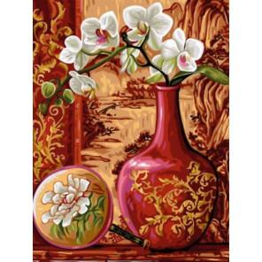 Орхидеи в вазе Раскраска картина по номерам на холсте
