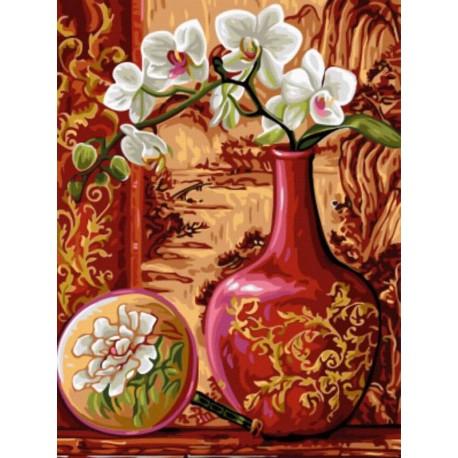 Орхидеи в вазе Раскраска картина по номерам акриловыми ...