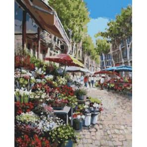 Цветочный рынок Раскраска картина по номерам на холсте