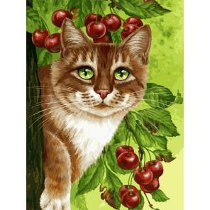 Кот на вишнёвом дереве (художник Ирина Гармашова) Раскраска картина по номерам на холсте Белоснежка