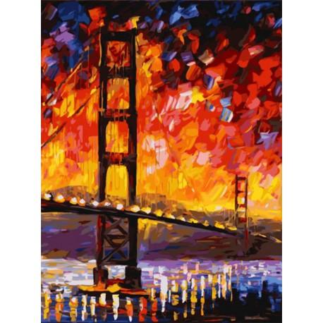 Мост Золотые ворота (художник Леонид Афремов) Раскраска картина по номерам на холсте Белоснежка