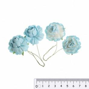 Голубые Бело-голубые Цветы розы  для скрапбукинга, кардмейкинга Scrapberry's