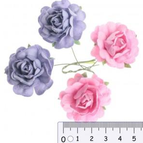 Розовые Нежно-фиолетовые Цветы розы для скрапбукинга, кардмейкинга Scrapberry's