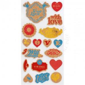 Цветные сердечки Пробковые стикеры Белоснежка