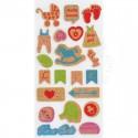 Разноцветные флажки Стикеры из пробки Белоснежка