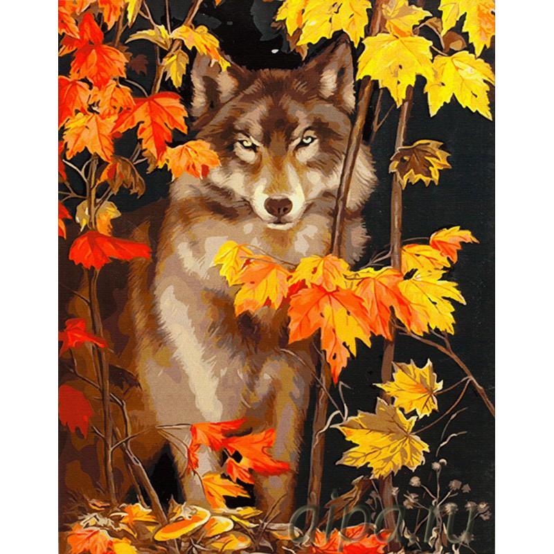 Раскраска по номерам Волк в осеннем лесу картина 40х50 см ...