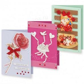 Нежный букет Набор для создания 3-х открыток своими руками Белоснежка
