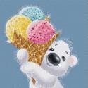 Медвежонок с мороженым Набор для вышивания Белоснежка