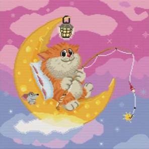 Котик на Луне Набор для вышивания Белоснежка