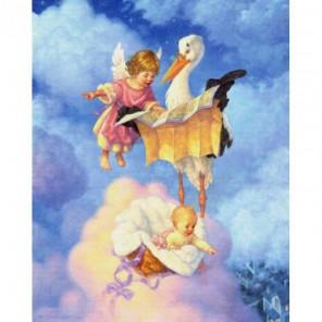 Ангелочек с аистом Набор для вышивания Белоснежка