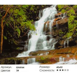 Лесной водопад Раскраска картина по номерам на холсте