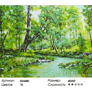 Ручей в лесу Раскраска картина по номерам на холсте