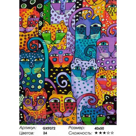Раскраска по номерам Разноцветные коты картина 40х50 см на ...