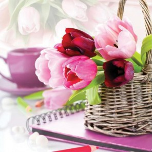 Тюльпаны в корзине Набор для вышивания Белоснежка