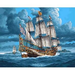 Парусник в открытом море Раскраска картина по номерам акриловыми красками на холсте