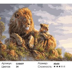 Количество красок и сложность Король Лев и львёнок Раскраска картина по номерам акриловыми красками на холсте