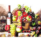 Натюрморт с фруктами и вином Раскраска картина по номерам акриловыми красками на холсте