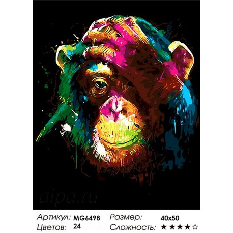Радужная обезьяна Раскраска картина по номерам акриловыми ...