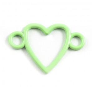 Сердечко светло-зеленое Подвеска металлическая для скрапбукинга, кардмейкинга