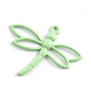 Стрекоза светло-зеленая Подвеска металлическая для скрапбукинга, кардмейкинга