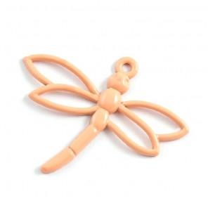 Стрекоза персиковая Подвеска металлическая для скрапбукинга, кардмейкинга
