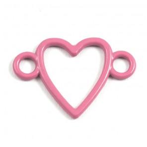 Сердечко розовое Подвеска металлическая для скрапбукинга, кардмейкинга