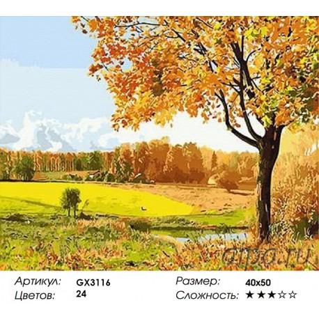 Золотая осень октября Раскраска картина по номерам на ...