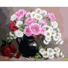 Розы и хризантемы Раскраска картина по номерам акриловыми красками на холсте