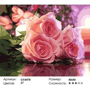 Количество цветов и сложность Три розы на столе Раскраска картина по номерам акриловыми красками на холсте