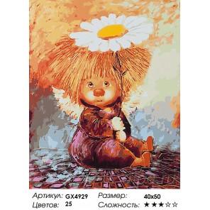Количество цветов и сложность Ангелочек с ромашкой Раскраска картина по номерам акриловыми красками на холсте