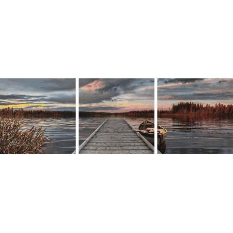 Восход на озере Триптих Раскраска по номерам акриловыми красками Schipper (Германия)