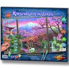 Внешний вид упаковки-коробки Цветущая вишня Триптих Раскраска по номерам акриловыми красками Schipper (Германия)
