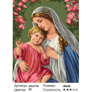 Количество цветов и сложность Богородица с младенцем Раскраска картина по номерам акриловыми красками на холсте