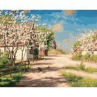 Деревня весной Раскраска картина по номерам акриловыми красками на холсте