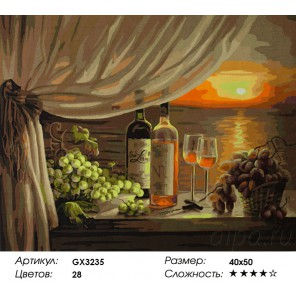 Вино и виноград Раскраска картина по номерам на холсте